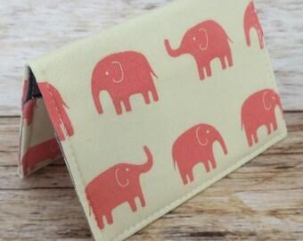 Debit Credit Card Case -  Business Card Case  - Receipts Cash Case - Pink Elephants on Cream Fabric
