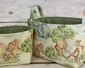 Diaper Caddy Set of 2 - Storage and Organization  - Winnie the Pooh Eeyore Tigger Park Toile Fabric - Fabric Bin Storage Container Basket