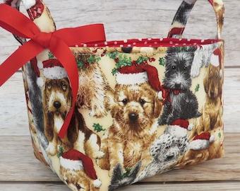 Christmas Holiday Xmas - Storage Organization Container Bin Organizer Basket - Sweet Dogs Puppy Puppies Fur-babies Fabric