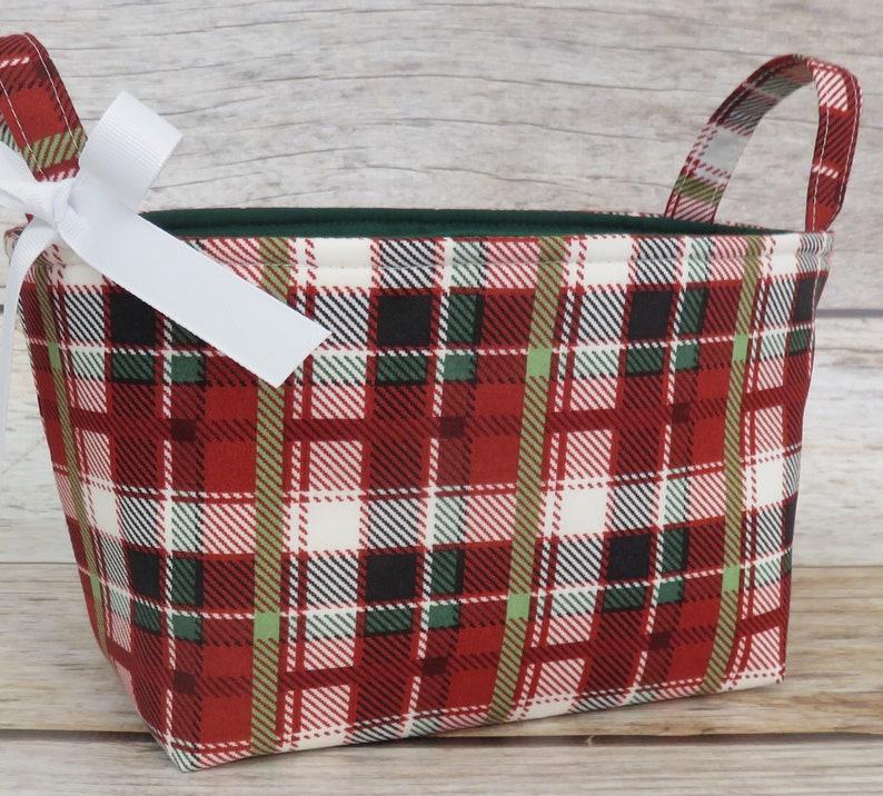 Christmas Red Multi Greens Plaid Fabric  Holiday Gift Basket image 0
