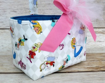 Halloween Trick or Treat Bag Basket Bucket - Alice in Wonderland and Friends on White Fabric - Personalized Name Tag Applique Available