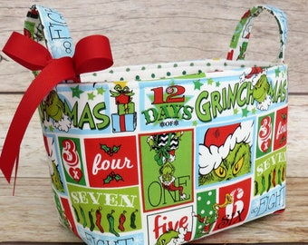12 days of Christmas Grinch Blocks Fabric - How the Grinch Stole Christmas Fabric - Merry Grinchmas Holiday Storage - Fabric Bin Basket -