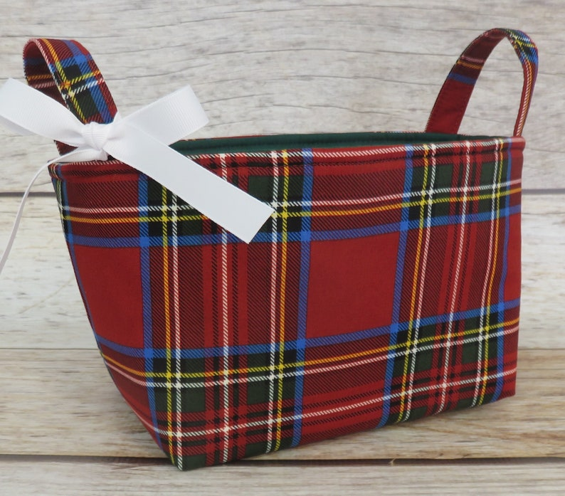 Multi Holiday Christmas Red Plaid Fabric  Holiday Gift Basket image 0