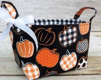 Pumpkins Fall Autumn Black/ Orange/ White Fabric Bin Storage Container Basket - Holiday Decor Storage and Organization