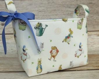 Peter Rabbit Flopsy Mopsy Jemima Puddleduck Mrs Tiggy Winkle Beatrix Potter Fabric - Diaper Caddy Nursery Bin Storage Basket - Baby Room