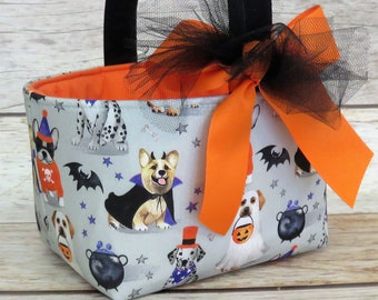 Halloween Trick Treat Basket Candy Bucket Bin - Fun Dogs in Costumes Fabric - PERSONALIZED/ Name Tag Available