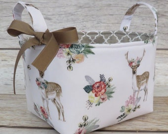 READY TO SHIP - Storage and Organization  - Sweet Deer and Flowers Woodland  Fabric Bin Storage Container Basket - Baby Room Decor
