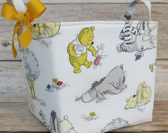 READY TO SHIP - 8 in x 8 in x 8 in - Winnie the Pooh Eeyore and Tigger on White - Fabric Storage Organizer Container Basket Baby Room Decor