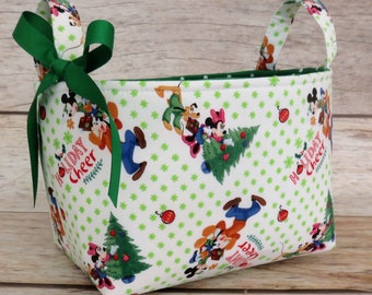 Mickey Mouse and Friends - Holiday Cheer - Holiday Gift Basket - Storage Organization - Fabric Organizer Container Bin Basket