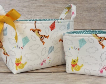 Diaper Caddy Set of 2 - Storage Organization  - Winnie Pooh and Tigger with Fun Kites on White - Fabric Bin Storage Container Basket
