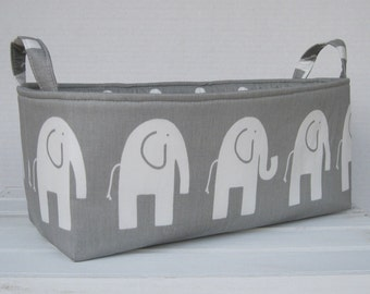 Long Diaper Caddy Storage Container Basket Fabric Organizer Bin - Nursery Decor - Ele Elephant - Choose Fabric for the Outside and Inside