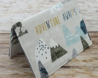 Debit Credit Card Case -  Business Card Case  - Receipts Cash Case - Adventure Awaits and Mountain Peaks Fabric