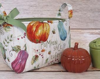Storage and Organization - Pumpkin Spice & Everything Nice - Thanksgiving Autumn - Fabric Organizer Bin Storage Container Basket Room Decor