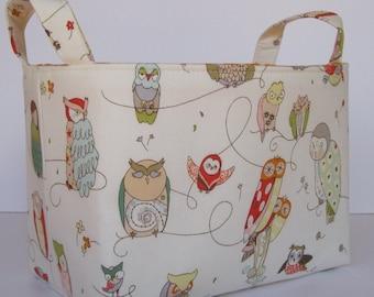Storage and Organization - Fabric Basket Container Organizer Bin - Spotted Owls on Cream Fabric - Nursery Decor