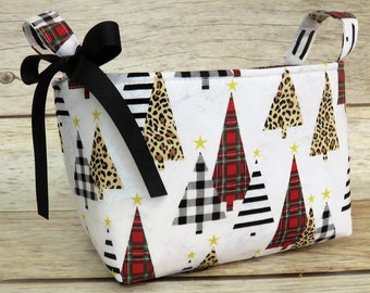 Christmas Holiday Xmas - Storage Organization Container Bin Organizer Basket - Christmas Trees - Black White Red Check Plaid Cheetah Fabric
