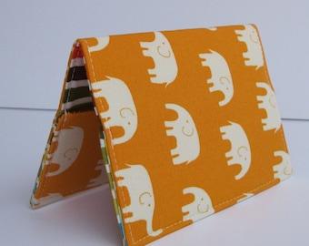Passport Case Holder Cover - Cream Elephants on Tangerine Orange