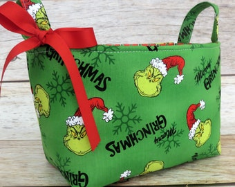 How the Grinch Stole Christmas Fabric - Merry Grinchmas Holiday Storage - Fabric Organizer Container Bin Basket -