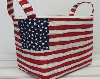Patriotic Organizer Storage Fabric Bin Basket Bucket Container Organization - White Stars on Navy paired with Red / White Stripe Fabric