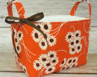 SALE / CLEARANCE - Storage Fabric Organizer Bin Container Basket - Daisy Bouquet - Katie Jump Rope Fabric - Nursery Baby Room Decor