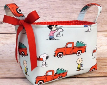Storage and Organization - Fabric Organizer Container Bin Basket - Christmas Red Truck Peanuts Snoopy Charlie Brown Lucy - Xmas Holiday