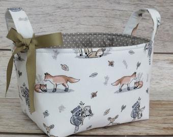 Storage Organization - Woodland Baby Animals - Fox Raccoon Deer - Fabric Bin Storage Container Basket - Baby Room Decor