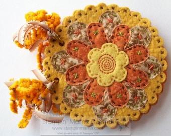 Hand stitched felt covered album-journal - SUNSHINE FLOWERS