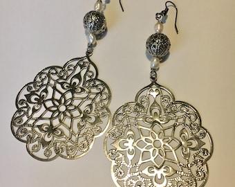 Rice Pearl and Silver Filigree Drop Earrings