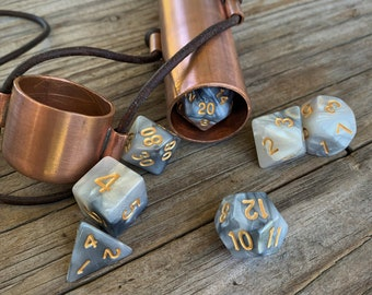 Handcrafted  Copper Dice Vault in Polished Copper with a Set of Seven Polyhedral Dice