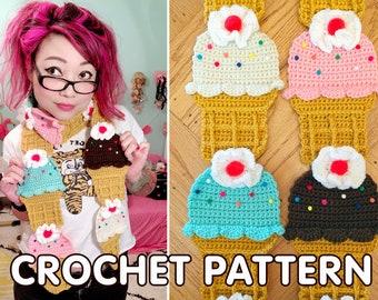 Ice Cream Cone Scarf - Crochet Pattern PDF