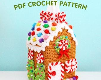 Gingerbread House Tissue Box Cozy - Crochet Pattern PDF