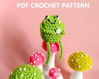 4 Cute Mushrooms and Frog - PDF Crochet Pattern - Twinkie Chan - amigurumi toadstool toad