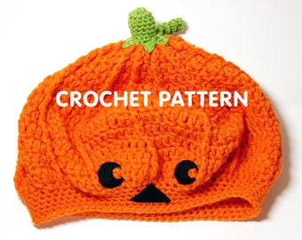 Pumpkin Jack-o-lantern Slouchy Beret Hat - Crochet Pattern PDF