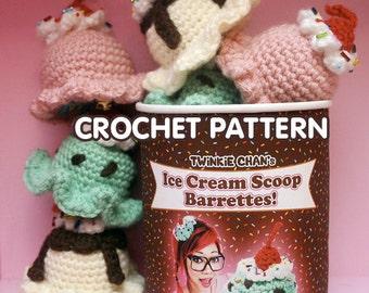 PDF Crochet Pattern - Ice Cream Scoop Hair Clip