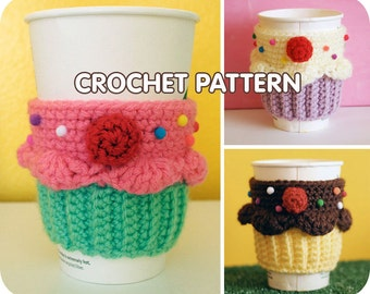 PDF Crochet Pattern - Cupcake Coffee Cup Cozy sleeve