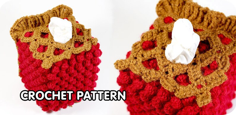 PDF Crochet Pattern  Cherry Pie Tissue Box Cozy image 0