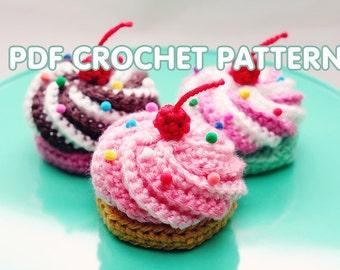 PDF Crochet Pattern - Swirly Cupcake Hair Clip