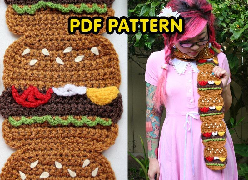 Burger Scarf  PDF Crochet Pattern image 0