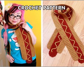 PDF Crochet Pattern - Hot Dog Scarf