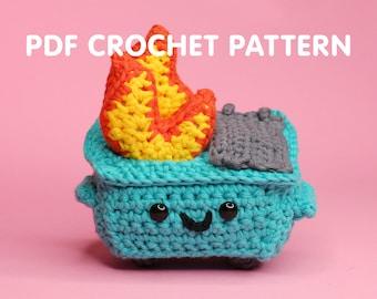 Dumpster Fire - PDF Crochet Pattern - Twinkie Chan - 100% Soft - amigurumi