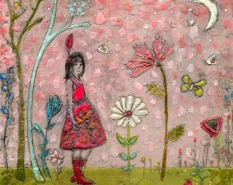 The Fiercest Flower - hand-embellished print on wood