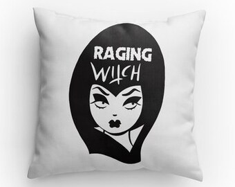 Raging Witch pillow with leopard print back