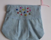 The Kacey Hand Embroidered Cosmetic Bag