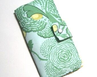 Bi-fold Checkbook Wallet in Amy Butler Midwest Modern Fresh Poppies in Green