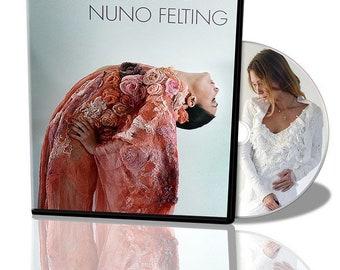 Nuno felt fabric manipulation video tutorial, felted dress, masterclass, workshop, silk and wool dress, texture