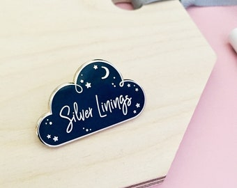 SILVER LININGS Navy ENAMEL Pin Badge Positive Pin Badge Hard Enamel Denim Jacket Pin Cute Enamel Pin Flag Game Nerdy Lapel Pin Badge