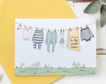 New Baby Card - Yellows and Greys – Personalised Washing Line – Baby Boy – Baby Girl – Baby Keepsake Card – For New Parents - Newborn Card