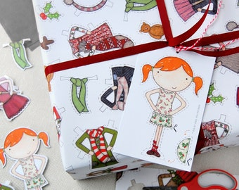 Christmas Paper Doll Wrapping Paper Set - Christmas Dress Up Wrapping Paper - Clara Paper Doll Festive Gift Wrap - Children's Dress Up Toy