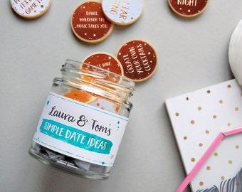 COUPLE'S DATE IDEAS Personalised Jar Personalised Gift For Couples Date Jar Date Night Couples Gift Date Night Ideas Valentines Gift For Him