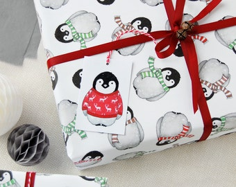 Christmas Baby Penguin Recyclable Wrapping Paper Set First Christmas