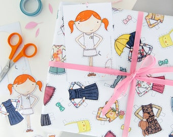 Clara Paper Doll Craft Wrapping Paper Set - Dress Up Wrapping Paper - Clara Paper Doll Activity Gift Wrap - Children's Dress Up Toy